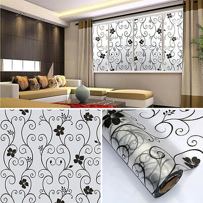 Sweet 45x100cm Frosted Glass Window Door Black Floral Flower Sticker Film Home