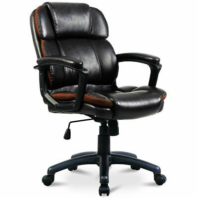 Ergonomic PU Leather Mid-Back Executive Computer Desk Task Office Chair New