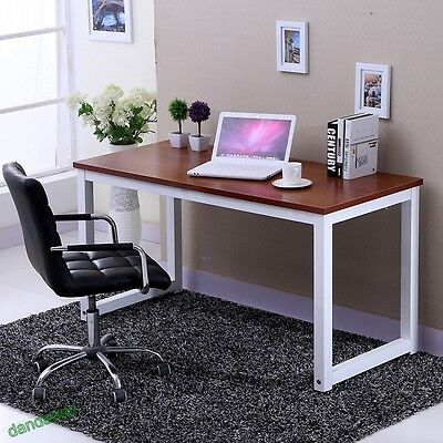 Modern Walnut Wooden & Metal Computer PC Desk Home Office / Study Table Bedroom