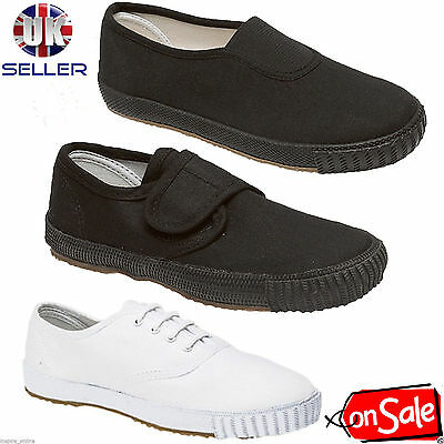 Boys Girls Unisex Adult School Pe Gym Sports Trainers Pumps Plimsolls Shoes Size