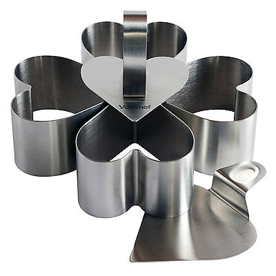 VonShef Heart Shaped Pastry Biscuit Cookie Cutter and Lifter Set Stainless Steel
