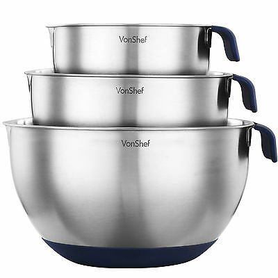 VonShef 3 Piece Stainless Steel Non-Slip Mixing Bowl Set with Pouring Spouts