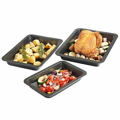 VonShef Non Stick 3 Piece Carbon Steel Roasting Tray Oven Roaster Tins Set