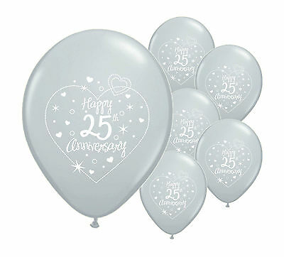"10 x 25th SILVER ANNIVERSARY 12"" HELIUM QUALITY PEARLISED BALLOONS (PA)"