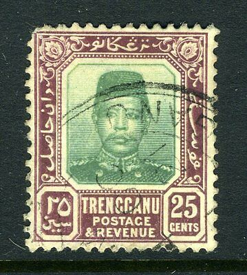 MALAYA (TRENGGANU)-1910-19 25c Green & Dull Purple Sg 12 FINE USED V8418