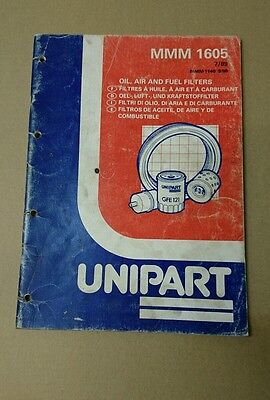 Unipart Oil Fuel Air Filter Parts Catalogue Mmm1605