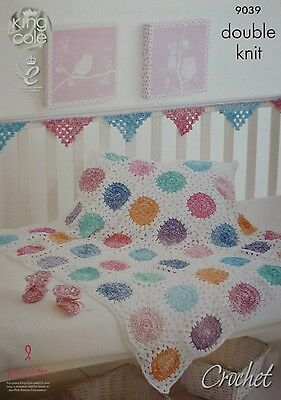 CROCHET PATTERN Babies Granny Squares Blanket Bootees &Bunting DK King Cole 9039