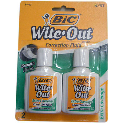 NEW Bic Wite Out Extra Coverage Correction Fluid 0.70 Ounces