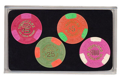 Set of 4 Tropicana $5-$25-$100 NCV Casino Chips Las Vegas NV Collector Chips*