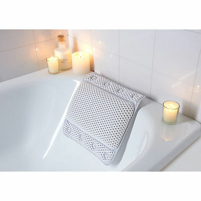 Non Slip White Cushion Spa Bath Pillow With Suction Pads