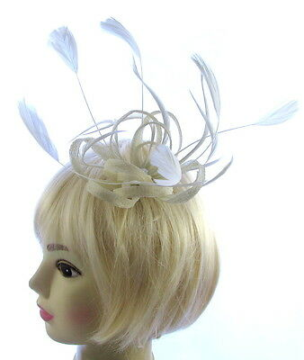 Ivory Cream and  off white Fascinator  on a clipmfor special occasions
