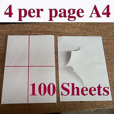 100 X A4 , 4 per to a page stickers sticker adhesive labels NEW White printer