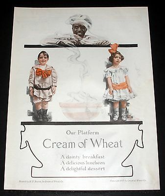 1914 Old Magazine Print Ad, Cream Of Wheat Cereal, Our Platform, Ht. Benton Art!