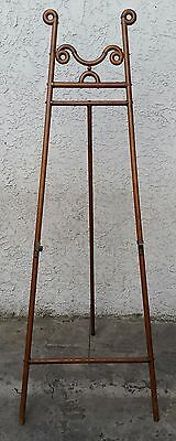 Victorian Oak & Brass BENT WOOD EASEL Artist Painting Display STAND 1890's