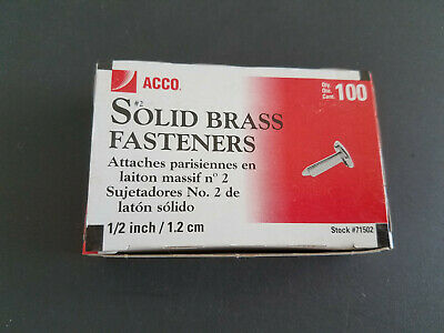"""Acco 71502 Solid Brass Round Head Fasteners 100 Count 1/2"""", 1 Box of 100"""
