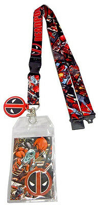 Marvel Comics Deadpool Logo Rubber Charm Text Lanyard Badge Id Holder Keychain