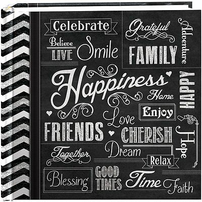 "Pioneer Photo Albums 200-Pocket Chalkboard Printed ""Happiness""(EV-246CHLK/H) NEW"