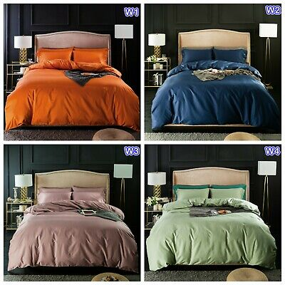 Solid Doona Duvet Quilt Cover Set Single Double Queen King Size Bed Pillow Cases