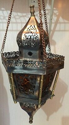 Middle Eastern Brass Hanging Lamp with open work and floral design