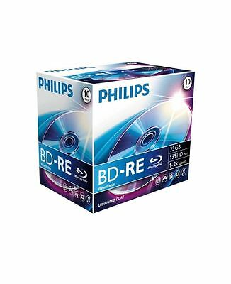 Philips Blu-Ray Bd-Re 25Gb 135Min High Def Vid Blank Discs - 10 Pack Jewel Cases