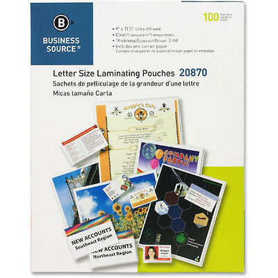 """1000 Letter Laminating Pouches 9"""" x 11.5"""" Laminator 3 Mil 20870 Business Source"""