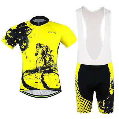 Cycling Jersey and (Bib) Shorts Suit Bike Clothing Set Men s Cycling Kit  Yellow dcbbf6969