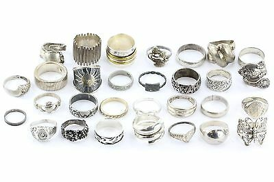 LOT of 30 Vintage Sterling Silver Rings / Bands NO STONES 162.1 grams