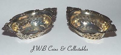 Antique / Vintage Pair Of Silver Salts Stamped Sterling With Birmingham Hallmark