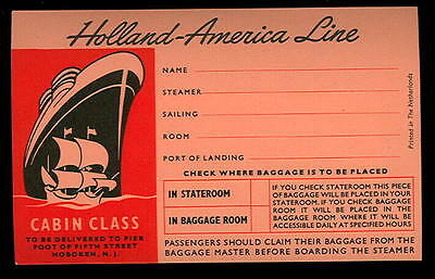 1950s Original Cruise Ship LUGGAGE LABEL-HOLLAND AMERICA LINE-UnUsed Decal-Peach