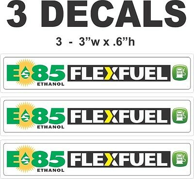 3 E85 Ethanol Flex Fuel Flexfuel Die Cut Vinyl Decals - Peel & Stick