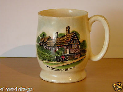 W H Goss China Cup Mug Anne Hathaways Cottage Stratford On Avon 9.5cms tall