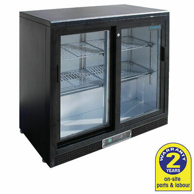Bar Fridge Undercounter 2 Glass Sliding Door 200L Stainless Polar Commercial