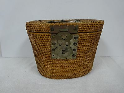 Rare antique Chinese woven sewing basket w/fish closure