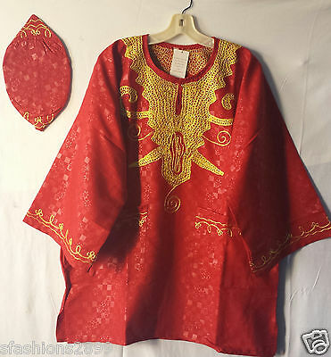 African Brocade Print Rayon Dashiki Men Top w/ Cap Shirt Blouse Free Size Red
