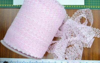 Uni-Trim Feather Edge Eyelet Lace, 37mm, PINK, Per 10 metre length