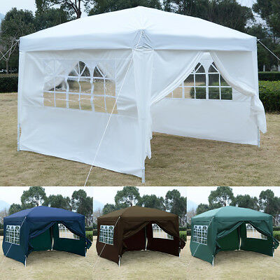 3mx3m Pop Up Gazebo Wedding Tent Waterproof Canopy Awning Marquee W/Carry Bag