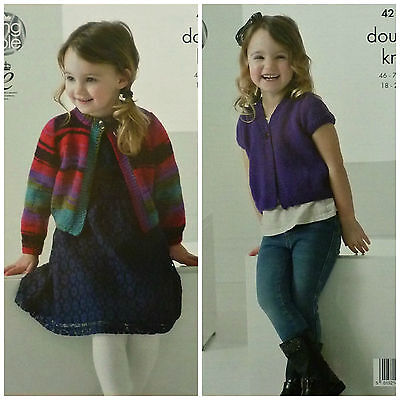 KNITTING PATTERN Girls Easy Knit Long/Short Sleeve Round V-Neck Cardigan DK 4216