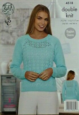 KNITTING PATTERN Ladies Long Sleeve Round Neck Lacy Jumper DK King Cole 4518