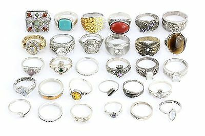 LOT of 30 Vintage Sterling Silver Rings / Bands 135.1 grams