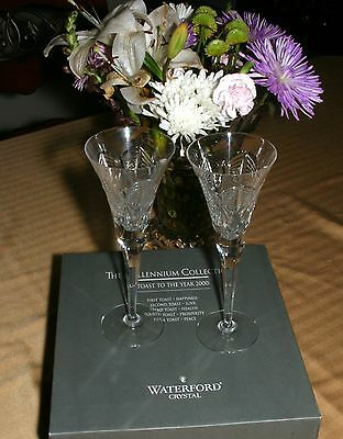 Waterford Lead Crystal Toasting Flutes, Millennium Collection, To The Year 2000!
