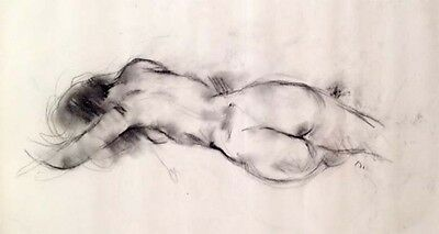 """Julian Ritter - Nude Lady - Charcoal on Vellum 19"""" x 24""""- Signed - 351"""