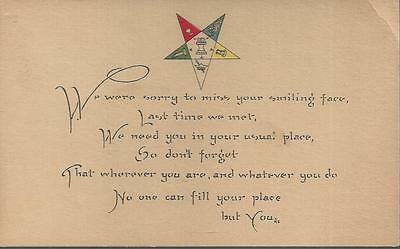 Antique Masonic Post Card *not Used *masons *oes Order Eastern Star *missing You