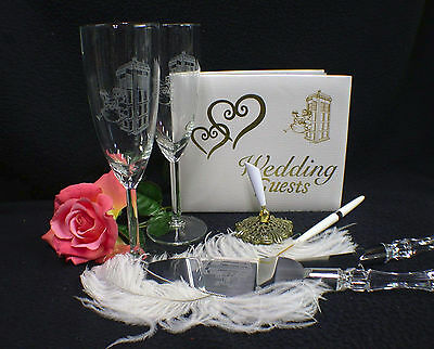 Doctor Who The Dr. Tradis Wedding Theme Gift Set Glasses Knife Guest Book Lot