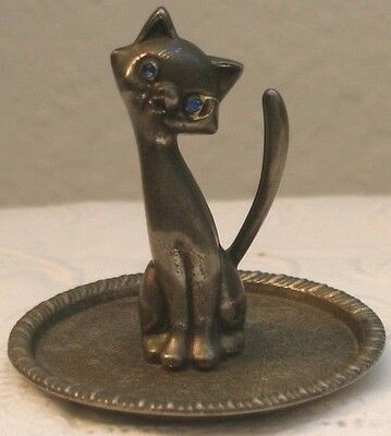 Vintage Silverplate Siamese Cat Jewelry Ring Holder With Tray Multifaceted Eyes