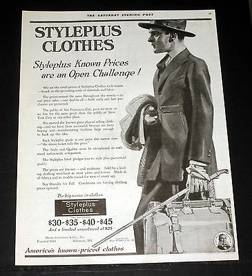 1919 Old Magazine Print Ad, Styleplus Clothes, Prices Are An Open Challenge!