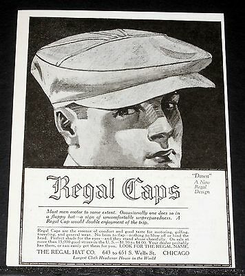 "1919 Old Magazine Print Ad, Regal Hat ""dawn"" Cap, Most Men Motor To Some Extent!"
