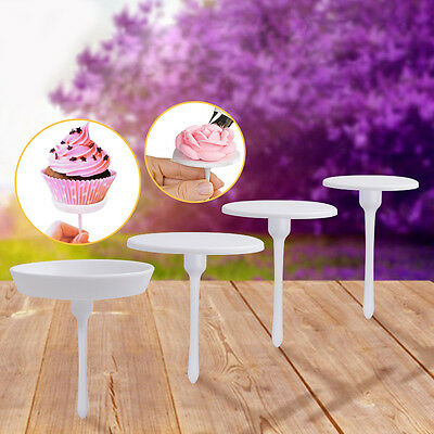 4Pcs Cake Flower Nail Set Handle Cupcake Decorating Icing Cream Sugarcraft Tool