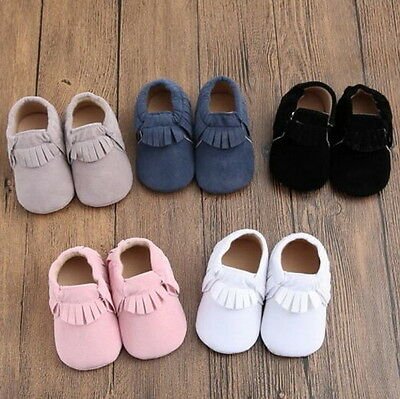 Baby Soft Sole Suede/Leather Shoes Infant Boy Girl Toddler Moccasin 0-18m TD@