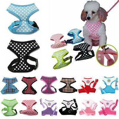 Small Pet Dog Cat Puppy Soft Mesh Fabric Adjustable Harness Lead Leash with Clip