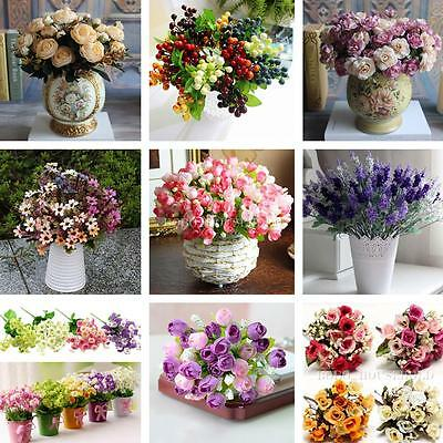 1 Bouquet Home Wedding Party Bridal Craft Artificial Silk Flowers Decoration